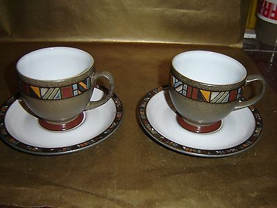 denby marrakesh 2x tea cups and saucers (several sets available)