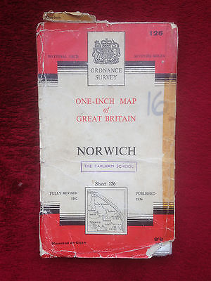 Norwich: Old 1960 Ordnance Survey Map - One Inch 7th Series Sheet 126 Cloth