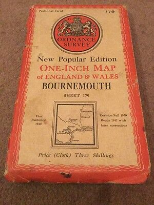 Bournemouth - Old 1947 Ordnance Survey One-Inch 6th Edition Map Sheet 179