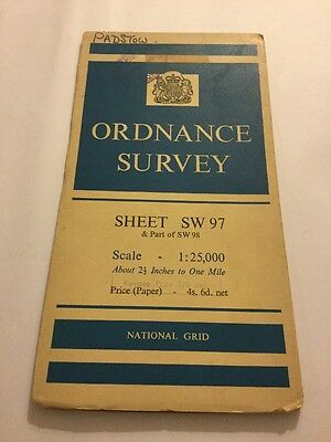 Padstow Wadebridge Old Ordnance Survey (OS) 1:25 000 (2.5 Inch) Map Sheet SW 97