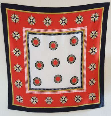 Large Red White Black Yellow Green Geometric Vintage Square Scarf