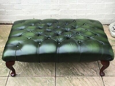 Chesterfield Queen Anne LARGE Footstool in Green Leather ! L🇬🇧👁K