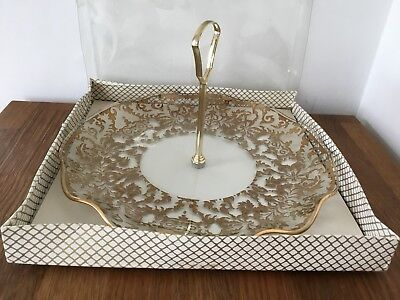 Vintage Decorative Gold Pattern Glass Cake Plate Centre Handle