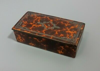Antique 18th century Georgian faux tortoiseshell inlaid snuff box tobacco tin