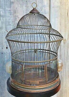 Antique Victorian Hendryx Brass Bird Cage w/ Spring Door, Glass Feeders c. 1920
