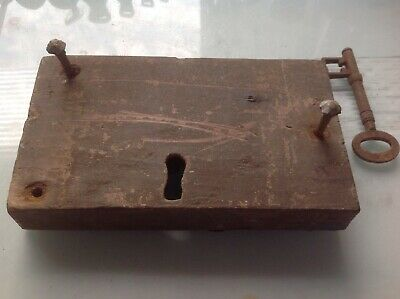 Antique Wooden Door Lock - with key needs refurb