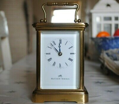 MATTHEW NORMAN VINTAGE 1754 SWISS 8 Day BOUDOIR CARRIAGE CLOCK Working With Key