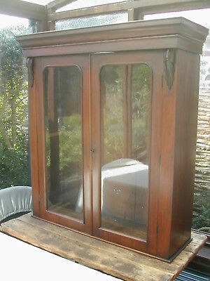 Antique Victorian Pine Mahogany veneer bookcase or display cabinet, 2 door glaze