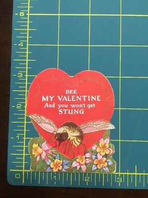 Vintage Art Deco Valentine Greeting Card Bee My Valentine Super Cute