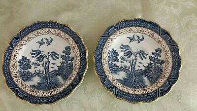 Booths Real Old Willow 2 Teacup Saucers Blue White Gold trim A8025 England Qty 2