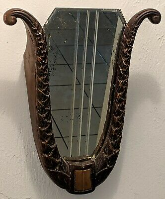 Antique Victorian Plaster of Paris Greek Lyre Harp Mirror Wall Hanger