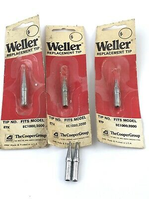 "Lot Of 5 Weller  Tip, ETA, ETC, ETP, ETH, ETK ""fits EC1000,2000 New"