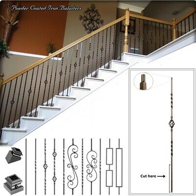 Hollow Metal Stair Baluster Spindle SINGLE KNUCKLE 1//2 X 44 Satin Black Box of 10