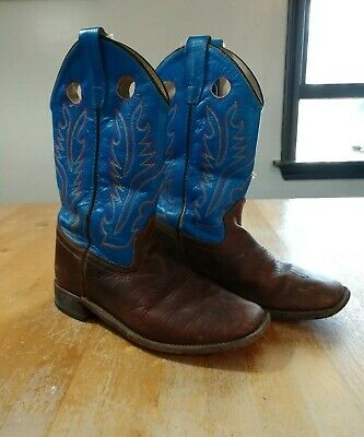 7870f68ca24 OLD WEST YOUTH BOYS GIRLS blue square toe cowboy western boots leather size  4