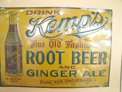 1920's Drink Kemp's Fine Old Fashioned Root Beer and Ginger Ale Sign