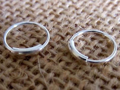 2 NOSE RING STERLING SILVER 10 mm TINY BODY PIERCING LIP SEGMENT EAR HOOP NEW