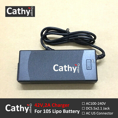 Free Shipping US 42V2A LiMn2O4 Battery 2A Smart Charger with 5.5*2.1mm DC plug