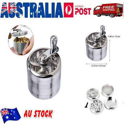 Metal Zinc Alloy Tobacco Herb Grinder 4-Layers Hand Muller Smoke Crusher Silver