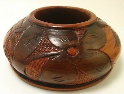 Vintage Solid Wood Hand Turned Carved Bowl Floral Design