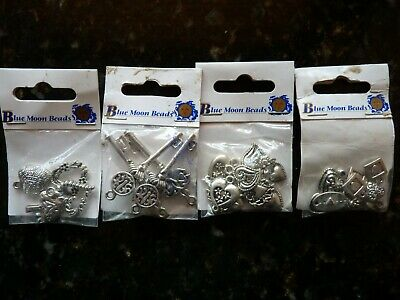 BLUE MOON BEADS - ASSORTED CHARMS - HEARTS  or KEYS - SILVER