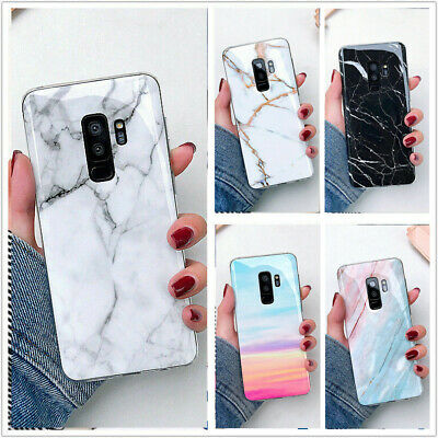 For Samsung S10 e S8 S9 + S7 Marble Shockproof Silicone Soft Phone Case Cover UK