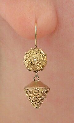 Antique Victorian Etruscan Seed Pearl Earrings -Gold Gilt & Solid 14k Wires $1NR