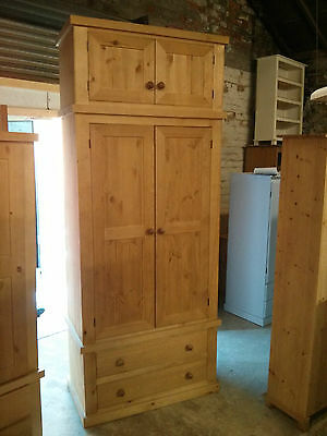 Old Mill Pine Furniture Edwardian Range Gents 2 Drawer Robe With Top Box Antique