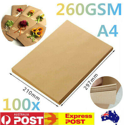 100x A4 Brown Kraft Paper Natural Recycled Blank Cards DIY Wedding Card Gift Tag