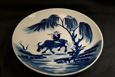 Antique Chinese Porcelain Plate Blue and White Signed 18th Century Qianlong Mark