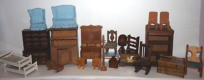 RYAN'S ROOM DOLL HOUSE FURNITURE hardwood hand crafted lot of 23!!!