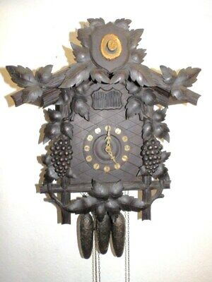 Old Black Forest  Cuckoo Quail Clock With 3 Weights In Running Funktion