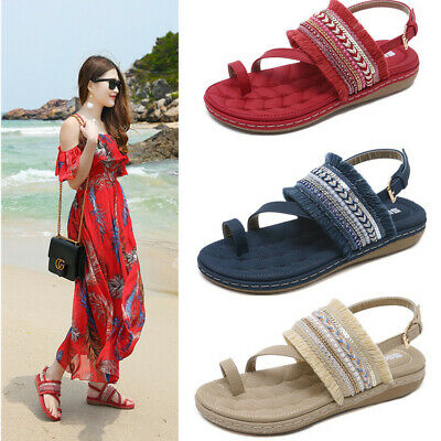 fdaf4c2c7 Women Girls Summer Bohemia Flip Flops Flats Sandals Buckle Casual Shoes  Slippers