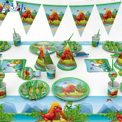Dinosaur Party Cups Plates Cutlery Flag Tableware Birthday Decorations Supplies