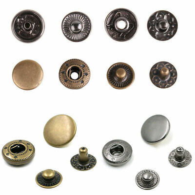200pc 10mm Metal Copper Snap Fastener Rounded Sewing Press Stud Cap Button Craft