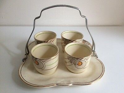 Vintage Art Deco Crownford Burslem Set of Four Egg Cups and Tray