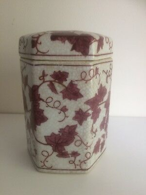 Antique Oriental Hexaganol Jar And Cover