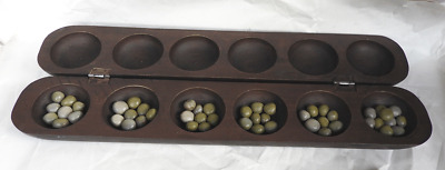 Hand Made Oware / Owara / Mancala Game - Wooden Ancient Strategy Game - BNWT