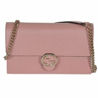 3a5966e902e5 New Gucci Womens Bag Wallet on Chain GG Shoulder crossbody Pink leather  grain