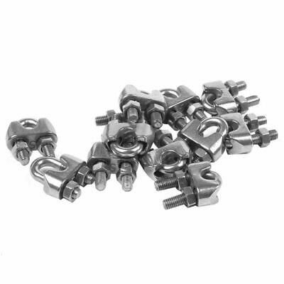 5mm 3/16 Inch Stainless Steel Wire Rope Cable Clamp Clips 12pcs C9P8