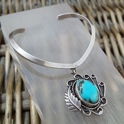 Vintage Native American Design Sterling Silver Bangle,Turquoise,Wishbone