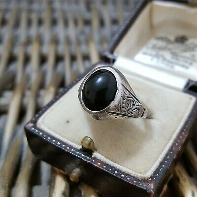 Vintage Solid Silver Signet Ring, 1960S, Black Onyx, Size N½