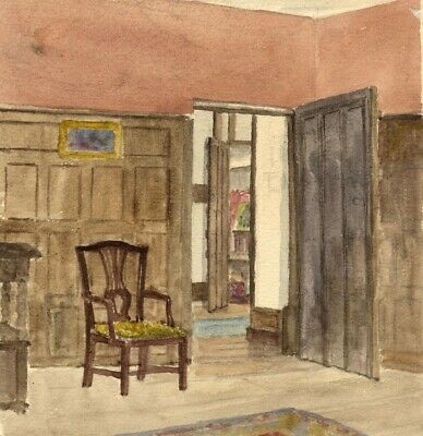 E.H. Hussey, Interior, Tenchleys Manor, Limpsfield - 1890s watercolour painting
