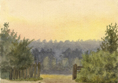 E.H. Hussey, View from St Mary's Churchyard, Oxted - 1898 watercolour painting