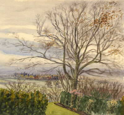 E.H. Hussey, Dining Room View, Court Hayes, Oxted - 1890s watercolour painting