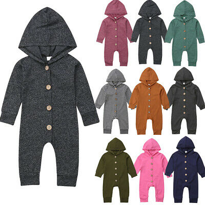 US Cotton Toddler Baby Boy Girl Hooded Romper Jumpsuit Bodysuit Clothes Outfits