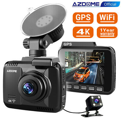 AZDOME Ultra HD 4K Autokamera Car DashCam GPS WIFI Weitwinkel DVR + Rear Kamera