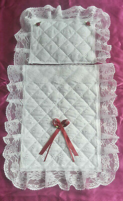 Dolls Pram Set Small Quilt Handmade Quilted Broderie Anglaise Burgundy Bow