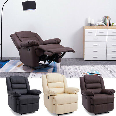 Luxury Seater Leather Recliner Armchair Sofa Home Lounge Chair Reclining Gaming