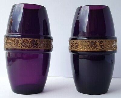 Pair, 2 x Massive Vases, Glass, Gold Frieze, Moser, um 1900–1920 Al1346