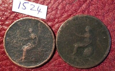 2 GEORGE III COPPER HALFPENNIES DATES OBSC but 1799 and 1806/7 - JOB LOT 1524